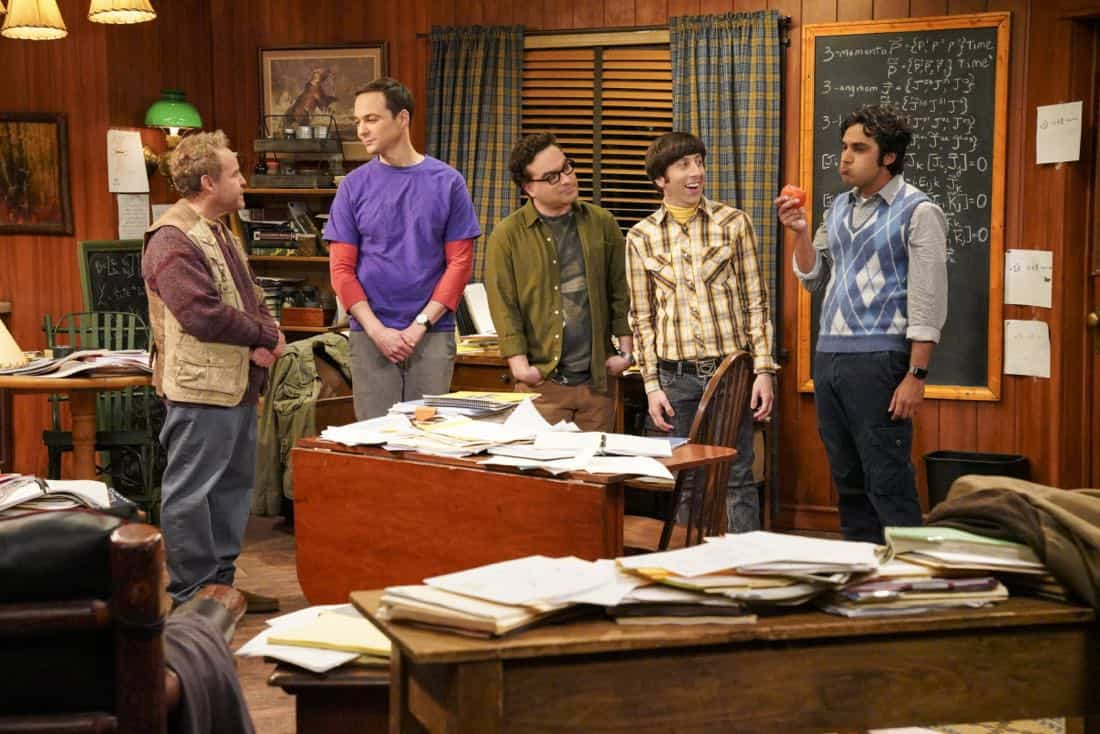 """The Reclusive Potential"" - Pictured:  Doctor Wolcott (Peter MacNicol), Sheldon Cooper (Jim Parsons), Leonard Hofstadter (Johnny Galecki), Howard Wolowitz (Simon Helberg) and Rajesh Koothrappali (Kunal Nayyar). A brilliant but reclusive scientist, Doctor Wolcott (Peter MacNicol), invites Sheldon to his cabin in the middle of nowhere, and Leonard, Raj and Howard go along for the trip. Also, Penny and Bernadette improvise after Amy doesn't like the tame bachelorette party they planned for her, on THE BIG BANG THEORY, Thursday, April 12 (8:00-8:31 PM, ET/PT) on the CBS Television Network. Photo: Bill Inoshita/CBS ©2018 CBS Broadcasting, Inc. All Rights Reserved."