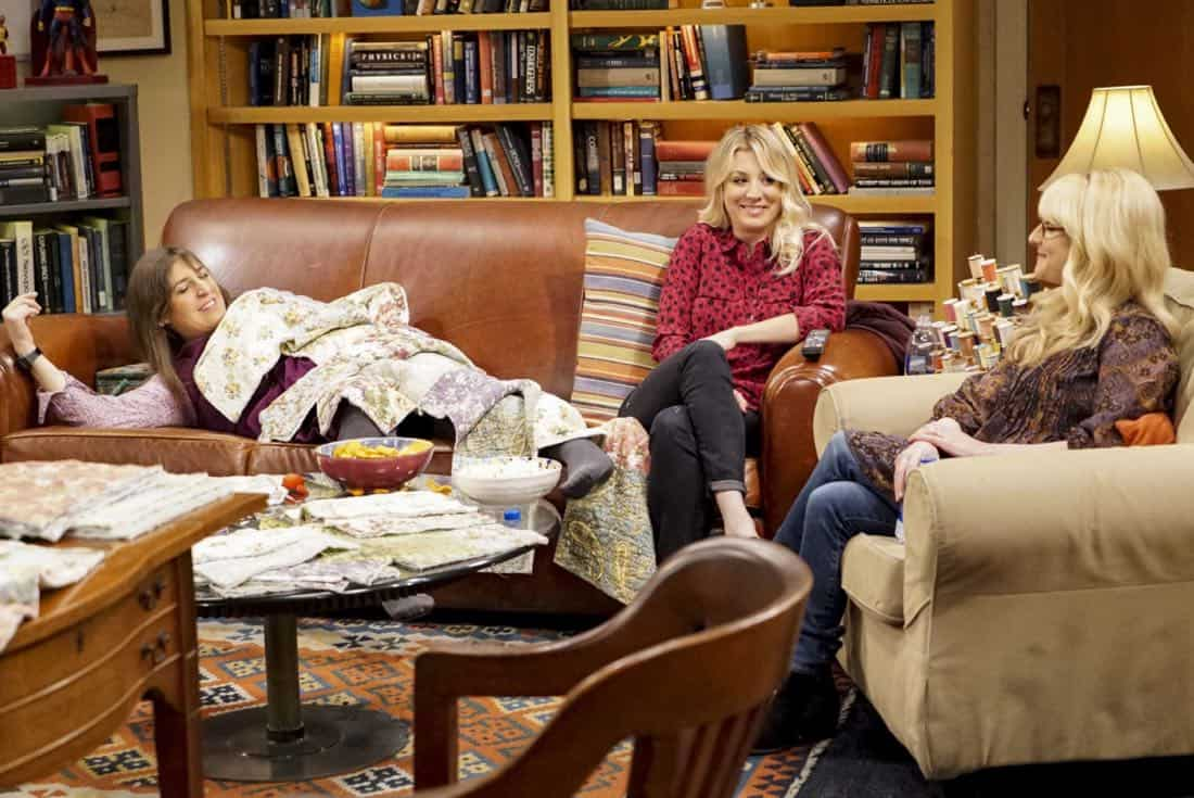 """The Reclusive Potential"" - Pictured: Amy Farrah Fowler (Mayim Bialik), Penny (Kaley Cuoco) and Bernadette (Melissa Rauch). A brilliant but reclusive scientist, Doctor Wolcott (Peter MacNicol), invites Sheldon to his cabin in the middle of nowhere, and Leonard, Raj and Howard go along for the trip. Also, Penny and Bernadette improvise after Amy doesn't like the tame bachelorette party they planned for her, on THE BIG BANG THEORY, Thursday, April 12 (8:00-8:31 PM, ET/PT) on the CBS Television Network. Photo: Bill Inoshita/CBS ©2018 CBS Broadcasting, Inc. All Rights Reserved."
