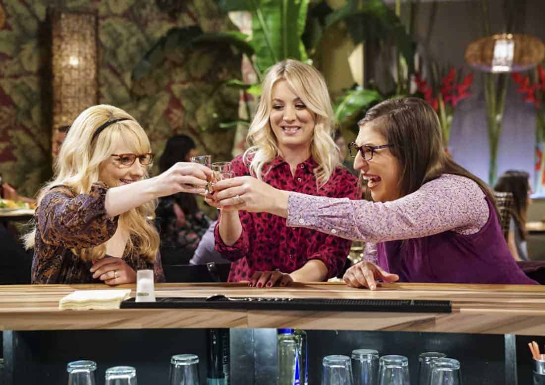 """The Reclusive Potential"" - Pictured: Bernadette (Melissa Rauch), Penny (Kaley Cuoco) and Amy Farrah Fowler (Mayim Bialik). A brilliant but reclusive scientist, Doctor Wolcott (Peter MacNicol), invites Sheldon to his cabin in the middle of nowhere, and Leonard, Raj and Howard go along for the trip. Also, Penny and Bernadette improvise after Amy doesn't like the tame bachelorette party they planned for her, on THE BIG BANG THEORY, Thursday, April 12 (8:00-8:31 PM, ET/PT) on the CBS Television Network. Photo: Sonja Flemming/CBS ©2018 CBS Broadcasting, Inc. All Rights Reserved."