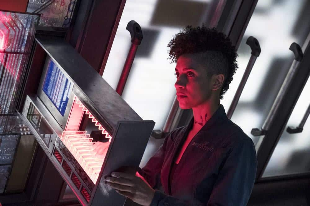 "THE EXPANSE -- ""Fight or Flight"" Episode 301 -- Pictured: Dominique Tipper as Naomi Nagata -- (Photo by: Rafy/Syfy)"