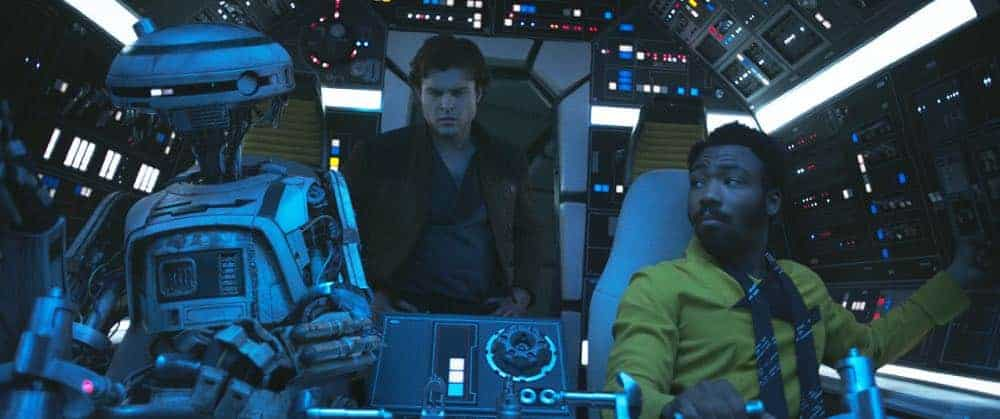 Alden Ehrenreich is Han Solo, Donal Glover is Lando Calrissian and Phoebe Waller-Bridge is L3-37 in SOLO: A STAR WARS STORY.