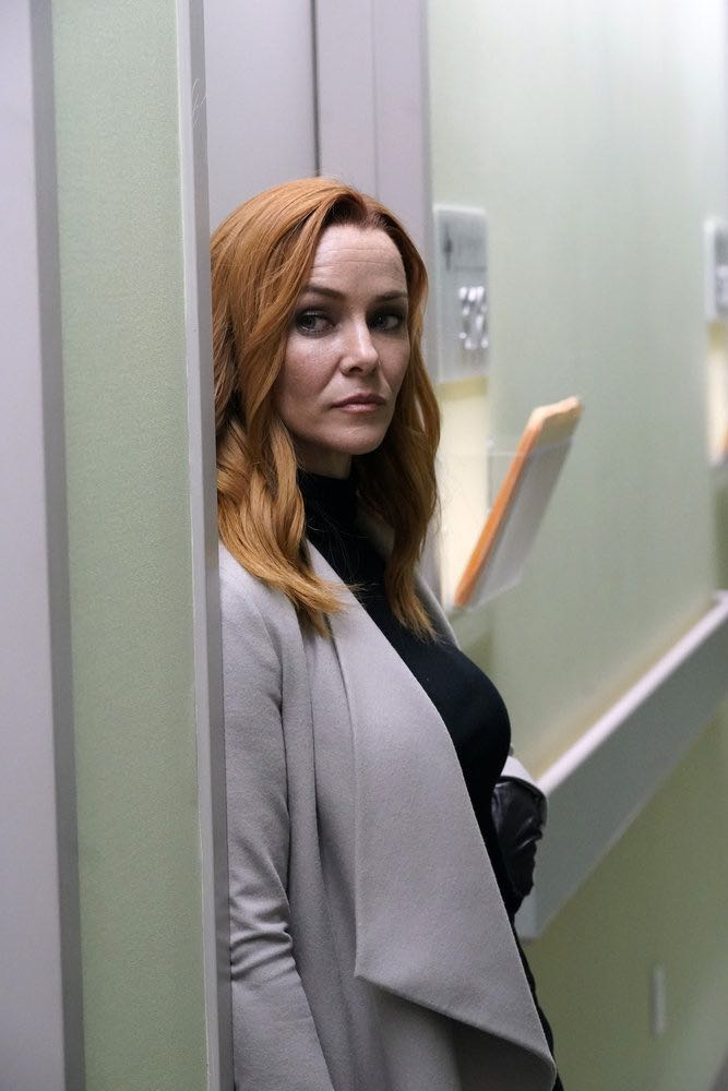 "TIMELESS -- ""The Kennedy Curse"" -- Pictured: (l-r) Annie Wersching as Emma Whitmore -- (Photo by: Chris Haston/NBC)"