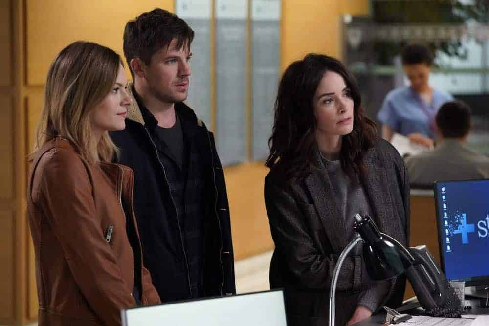 "TIMELESS -- ""The Kennedy Curse"" -- Pictured: (l-r) Tonya Glanz as Jessica, Matt Lanter as Wyatt Logan, Abigail Spencer as Lucy Preston -- (Photo by: Chris Haston/NBC)"