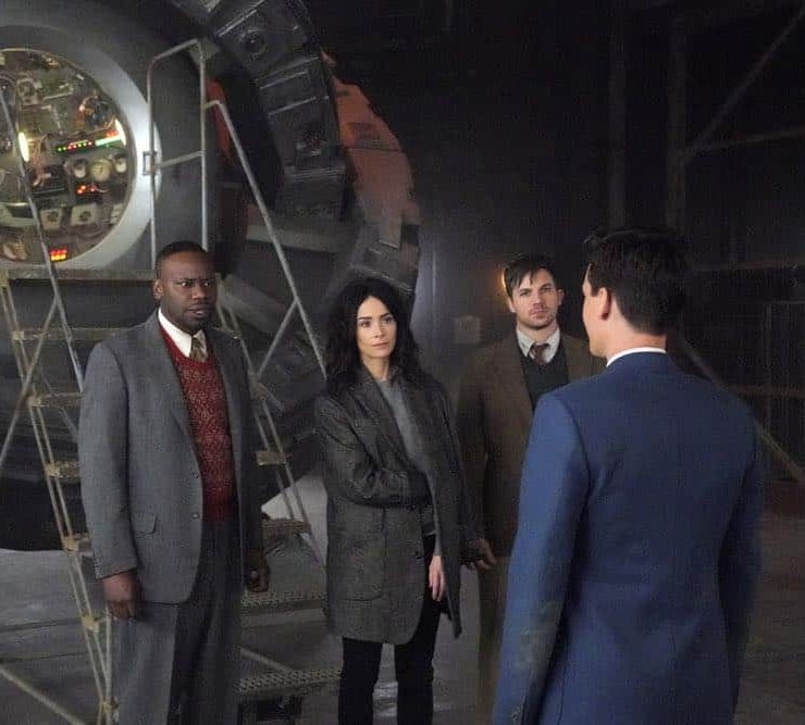 "TIMELESS -- ""The Kennedy Curse"" Episode 205 -- Pictured: (l-r) Malcolm Barrett as Rufus Carlin, Abigail Spencer as Lucy Preston, Matt Lanter as Wyatt Logan, Grant Logan as JFK -- (Photo by: Paul Drinkwater/NBC)"
