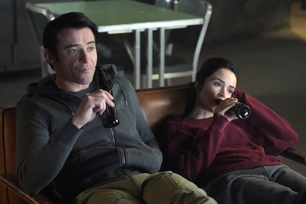 """TIMELESS -- """"The Kennedy Curse"""" Episode 205 -- Pictured: (l-r) Goran Visnjic as Garcia Flynn, Abigail Spencer as Lucy Preston -- (Photo by: Paul Drinkwater/NBC)"""