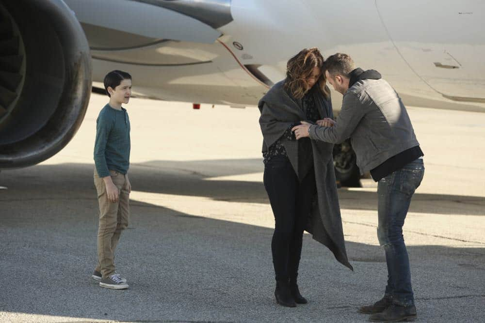 """Kenny and the Jet"" -- Paige's maternal side goes into high gear when Team Scorpion must save an unconscious, hypothermic boy stuck in the wheel well of their airborne airplane. Also, Walter's white lie to Paige starts to take a toll on him, and Paige realizes something's up, on SCORPION, Monday, April 9 (10:00-11:00 PM, ET/PT) on the CBS Television Network. Pictured: Riley B. Smith, Katharine McPhee, Eddie Kaye Thomas. Photo: Michael Yarish/CBS ©2018 CBS Broadcasting, Inc. All Rights Reserved"