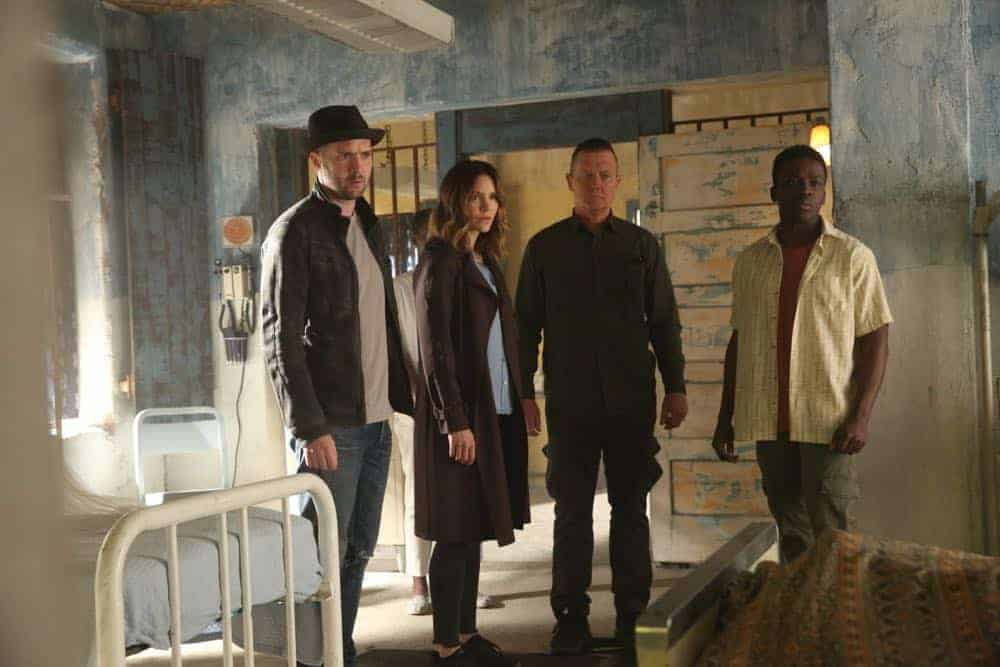 """A Lie in the Sand"" -- Team Scorpion heads to Northeast Africa where they must carefully navigate a minefield in order to save the lives of local villagers. Also, Paige and Walter's relationship takes a shocking turn, and Toby and Happy make an important decision, on the fourth season finale of SCORPION, Monday, April 16 (10:00-11:00 PM, ET/PT) on the CBS Television Network. Pictured: Eddie Kaye Thomas, Katharine McPhee, Robert Patrick. Photo: Michael Yarish/CBS ©2018 CBS Broadcasting, Inc. All Rights Reserved"