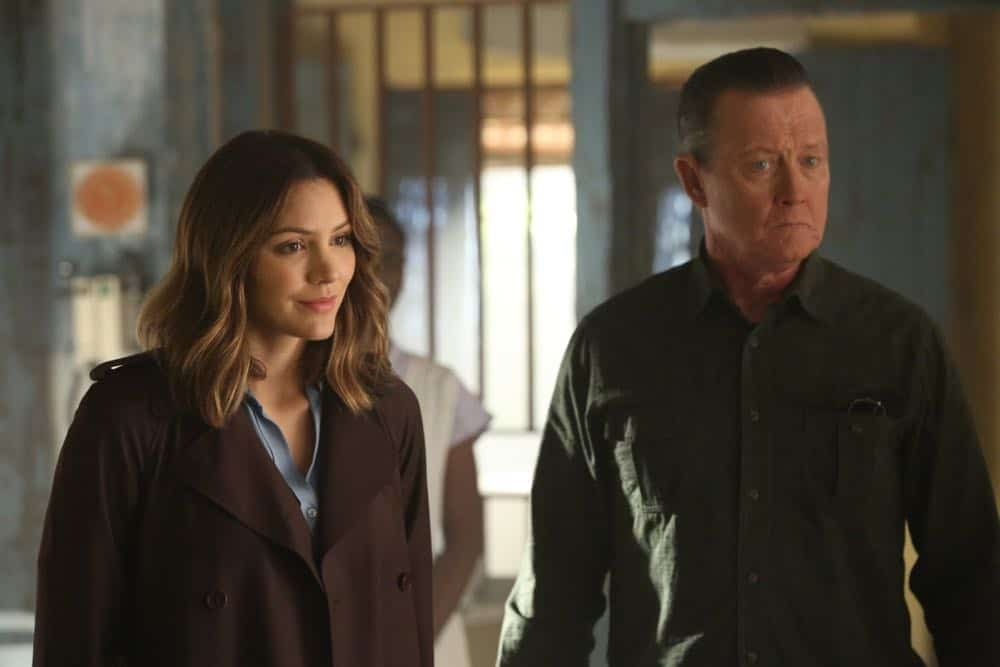 """A Lie in the Sand"" -- Team Scorpion heads to Northeast Africa where they must carefully navigate a minefield in order to save the lives of local villagers. Also, Paige and Walter's relationship takes a shocking turn, and Toby and Happy make an important decision, on the fourth season finale of SCORPION, Monday, April 16 (10:00-11:00 PM, ET/PT) on the CBS Television Network. Pictured: Katharine McPhee, Robert Patrick.   Photo: Michael Yarish/CBS ©2018 CBS Broadcasting, Inc. All Rights Reserved"