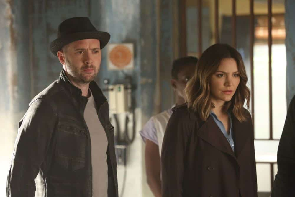 """A Lie in the Sand"" -- Team Scorpion heads to Northeast Africa where they must carefully navigate a minefield in order to save the lives of local villagers. Also, Paige and Walter's relationship takes a shocking turn, and Toby and Happy make an important decision, on the fourth season finale of SCORPION, Monday, April 16 (10:00-11:00 PM, ET/PT) on the CBS Television Network. Pictured: Eddie Kaye Thomas, Katharine McPhee Photo: Michael Yarish/CBS ©2018 CBS Broadcasting, Inc. All Rights Reserved"