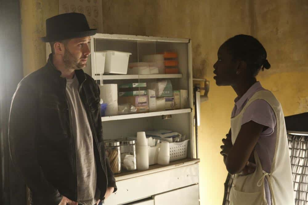 """A Lie in the Sand"" -- Team Scorpion heads to Northeast Africa where they must carefully navigate a minefield in order to save the lives of local villagers. Also, Paige and Walter's relationship takes a shocking turn, and Toby and Happy make an important decision, on the fourth season finale of SCORPION, Monday, April 16 (10:00-11:00 PM, ET/PT) on the CBS Television Network. Pictured: Eddie Kaye Thomas  Photo: Michael Yarish/CBS ©2018 CBS Broadcasting, Inc. All Rights Reserved"
