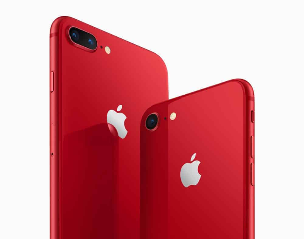 iPhone8 iPhone8PLUS PRODUCT RED angled back 041018