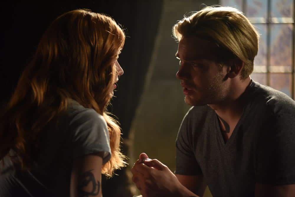 "SHADOWHUNTERS - ""Thy Soul Instructed"" - Jace's concerns grow about his mental state and turns to Luke for information on his family's past. Clary and Izzy go after a rogue vampire and Simon hunts for a new apartment. This episode of ""Shadowhunters"" airs Tuesday, April 10 (8:00 - 9:00 p.m. EDT) on Freeform. (Freeform/John Medland) KATHERINE MCNAMARA, DOMINIC SHERWOOD"