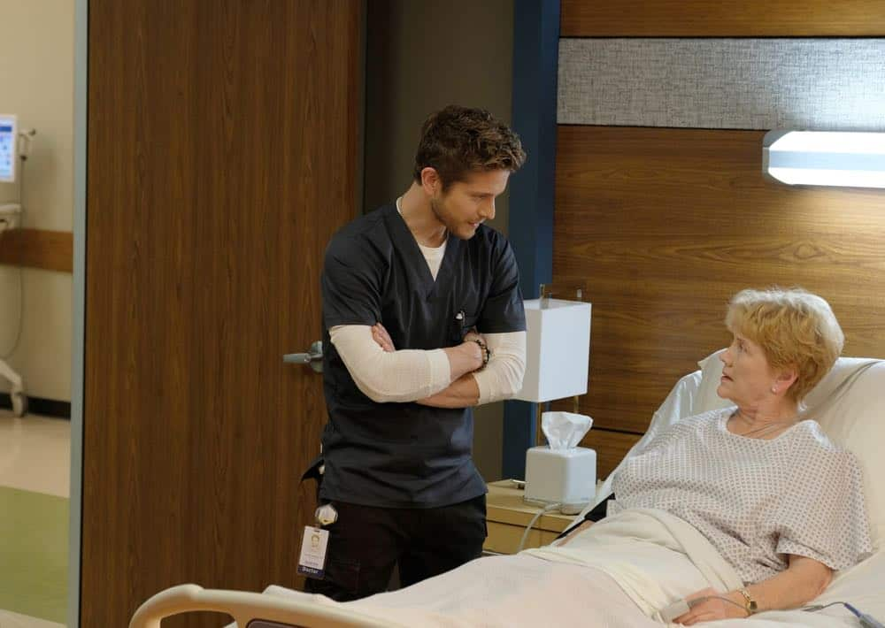 "THE RESIDENT:  L-R:  Matt Czuchry and guest star Erika Slezak in the ""Haunted"" episode of THE RESIDENT airing Monday, April 16 (9:00-10:00 PM ET/PT) on FOX.  ©2018 Fox Broadcasting Co.  Cr:  Eliza Morse/FOX"