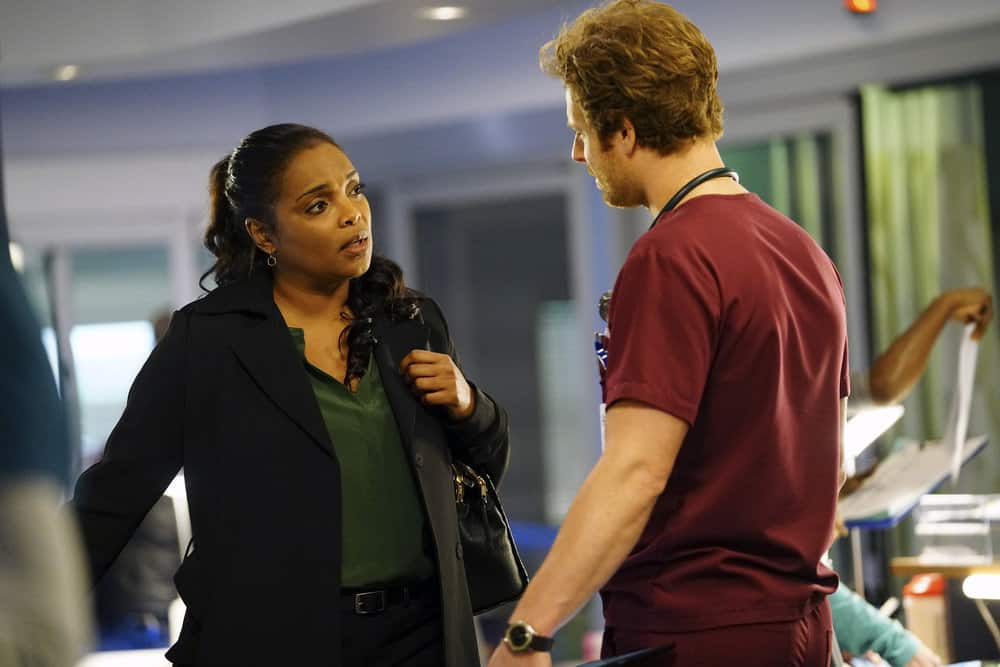 """CHICAGO MED -- """"Devil in Disguise"""" Episode 315 -- Pictured: (l-r) Marlyne Barrett as Maggie Lockwood, Nick Gehlfuss as Dr. Will Halstead -- (Photo by: Elizabeth Sisson/NBC)"""