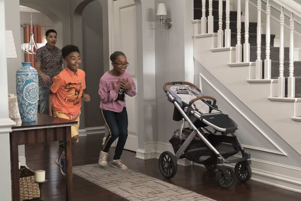 "BLACK-ISH - ""Dog Eat Dog World"" - The family is divided over the idea of getting a dog after Dre and Bow promise Jack they can get one after he gets Straight A's - and he does! Meanwhile, Bow's brother Johan is in town and he doesn't get the warm welcome he expects from Ruby, on ""black-ish,"" TUESDAY, APRIL 10 (9:00-9:30 p.m. EDT), on The ABC Television Network. (ABC/Eric McCandless) MARCUS SCRIBNER, MILES BROWN, MARSAI MARTIN"
