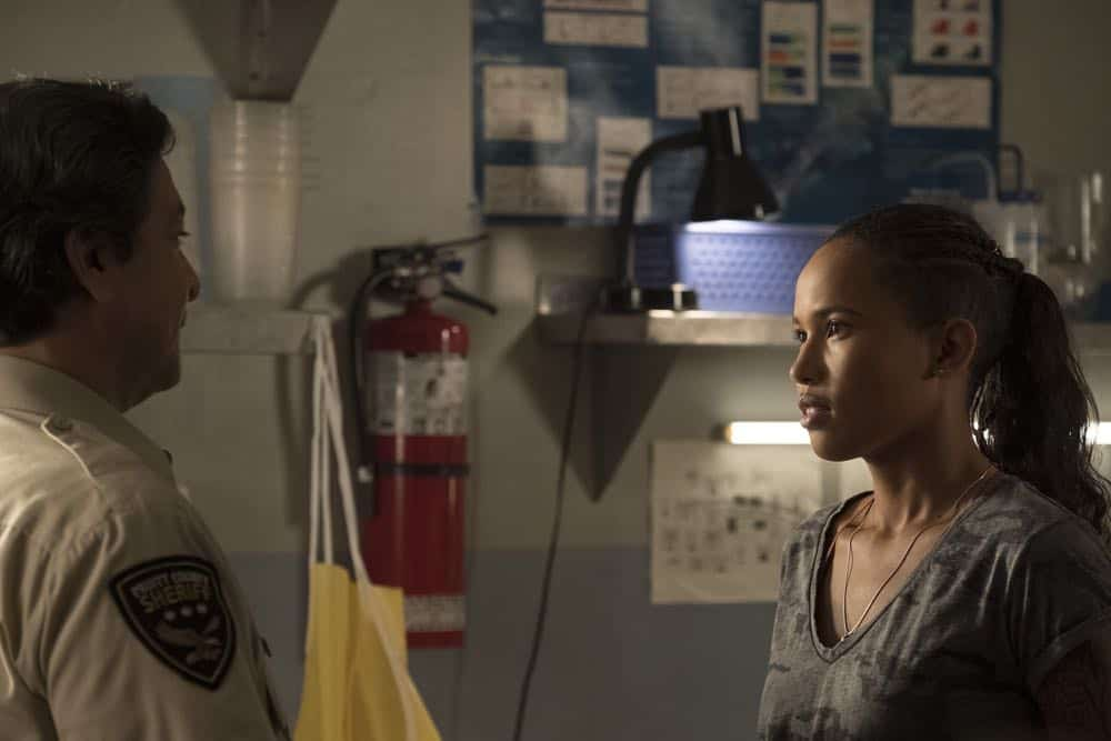 "SIREN - ""On The Road"" - When the military facility goes on high alert, Chris manages to escape, but he's not the only one who gets out. This episode of ""On The Road"" airs Thursday, April 12 (8:00 - 9:01 p.m. EDT) on Freeform. (Freeform/Jeff Weddell) GIL BIRMINGHAM, FOLA EVANS-AKINBOLA"