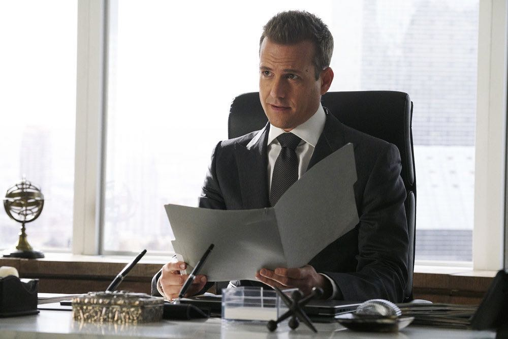 "SUITS -- ""Inevitable"" Episode 713 -- Pictured: Gabriel Macht as Harvey Specter -- (Photo by: Ian Watson/USA Network)"