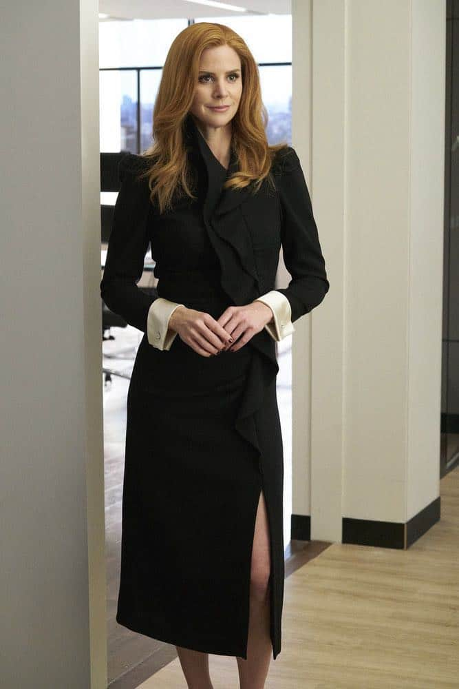 "SUITS -- ""Inevitable"" Episode 713 -- Pictured: Sarah Rafferty as Donna Paulsen -- (Photo by: Ian Watson/USA Network)"