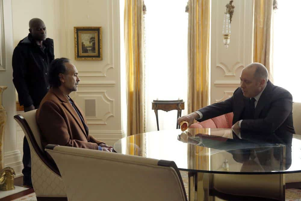 "THE BLACKLIST -- ""Zarak Mosadek (#23)"" Episode 518 -- Pictured: (l-r) Hisham Tawfiq as Dembe Zuma, Bernard White as Zarak Mosadek, James Spader as Raymond ""Red"" Reddington -- (Photo by: Will Hart/NBC)"