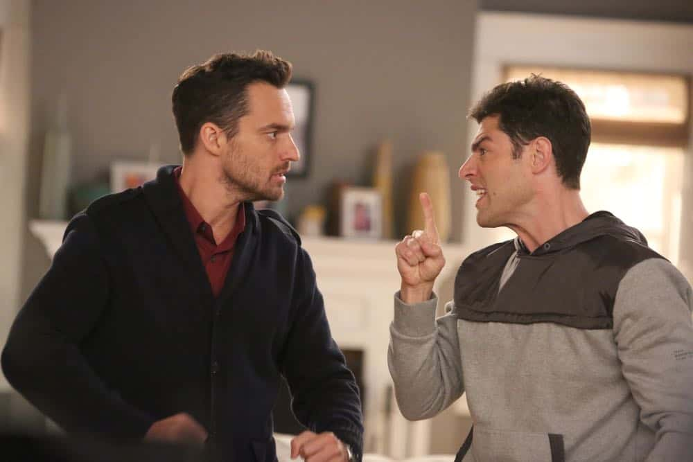 "NEW GIRL:  L-R: Jake Johnson and Max Greenfield in the ""Tuesday Meeting"" episode of NEW GIRL airing Tuesday, April 17 (9:30-10:00 PM ET/PT) on FOX.  ©2018 Fox Broadcasting Co. Cr: Ray Mickshaw/FOX"