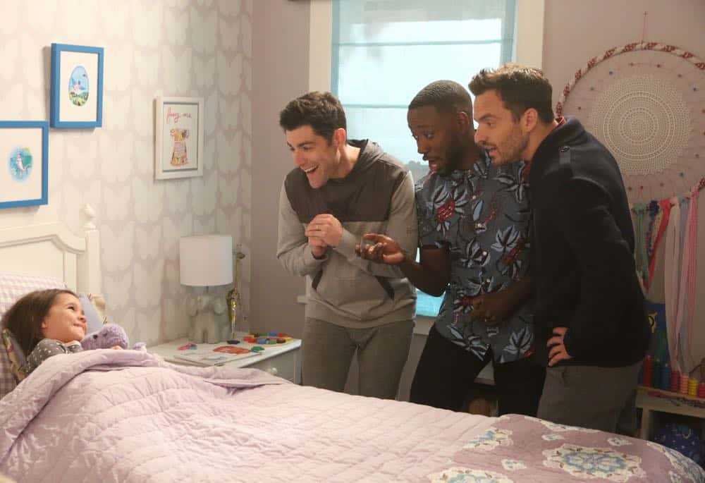 "NEW GIRL:  L-R: Danielle/Rhiannon Rockoff, Max Greenfield, Lamorne Morris and Jake Johnson in the ""Tuesday Meeting"" episode of NEW GIRL airing Tuesday, April 17 (9:30-10:00 PM ET/PT) on FOX.  ©2018 Fox Broadcasting Co. Cr: Ray Mickshaw/FOX"
