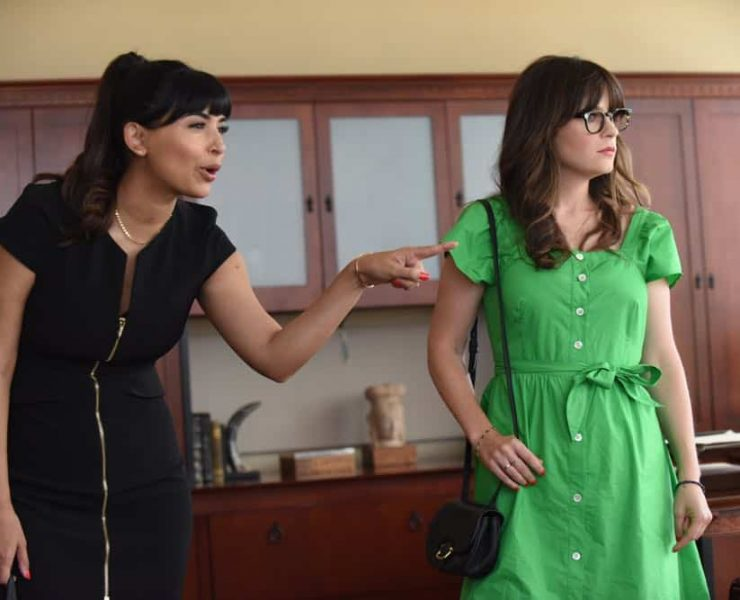 "NEW GIRL: L-R: Hannah Simone and Zooey Deschanel in the ""Tuesday Meeting"" episode of NEW GIRL airing Tuesday, April 17 (9:30-10:00 PM ET/PT) on FOX. ©2018 Fox Broadcasting Co. Cr: Ray Mickshaw/FOX"