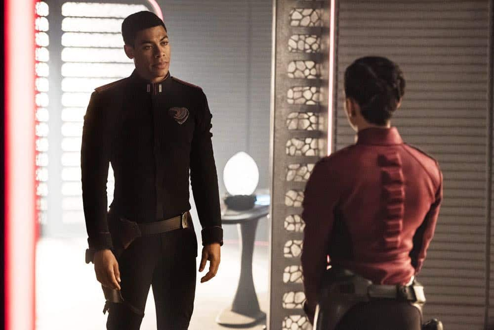 """KRYPTON -- """"The World of Rao Episode 104 -- Pictured: Aaron Pierre as Dev-Em -- (Photo by: Steffan Hill/Syfy)"""