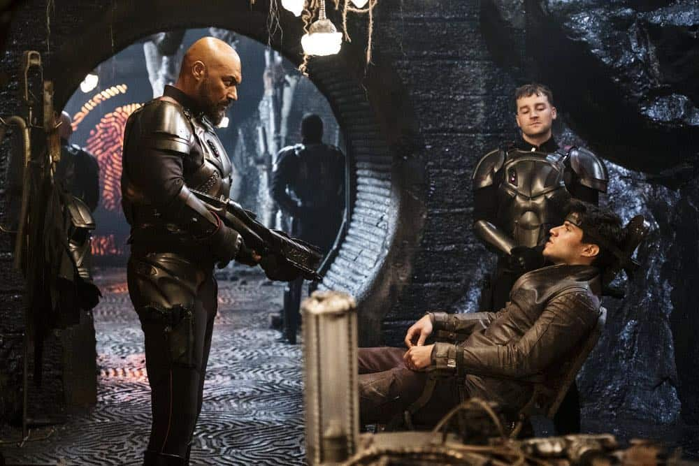 """KRYPTON -- """"The World of Rao Episode 104 -- Pictured: (l-r) Colin Salmon as General Zod, Killian Coyle as Tak, Cameron Cuffe as Seg-El -- (Photo by: Steffan Hill/Syfy)"""