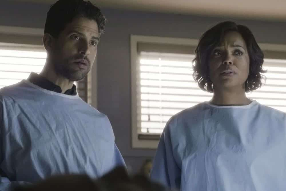 """All You Can Eat"" -- The Centers for Disease Control calls on the BAU when they suspect bioterrorism is behind a series of mysterious deaths in Virginia. Also, Garcia visits her stepbrother, Carlos (Sebastian Sozzi), to take care of a difficult family issue, on CRIMINAL MINDS, Wednesday, April 11 (10:00-11:00 PM, ET/PT) on the CBS Television Network.  Pictured: Adam Rodriguez (Luke Alvez), Aisha Tyler (Dr. Tara Lewis)   Photo: Best Screen Grab Available ©2018 CBS Broadcasting, Inc. All Rights Reserved"