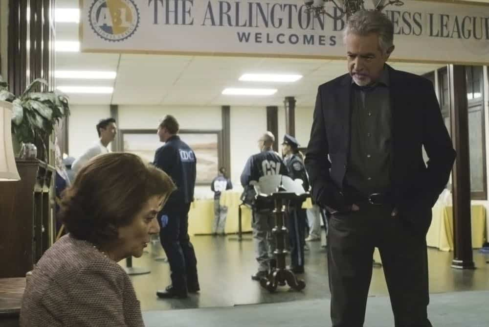 """All You Can Eat"" -- The Centers for Disease Control calls on the BAU when they suspect bioterrorism is behind a series of mysterious deaths in Virginia. Also, Garcia visits her stepbrother, Carlos (Sebastian Sozzi), to take care of a difficult family issue, on CRIMINAL MINDS, Wednesday, April 11 (10:00-11:00 PM, ET/PT) on the CBS Television Network.  Pictured: Joe Mantegna (David Rossi)   Photo: Best Screen Grab Available ©2018 CBS Broadcasting, Inc. All Rights Reserved"