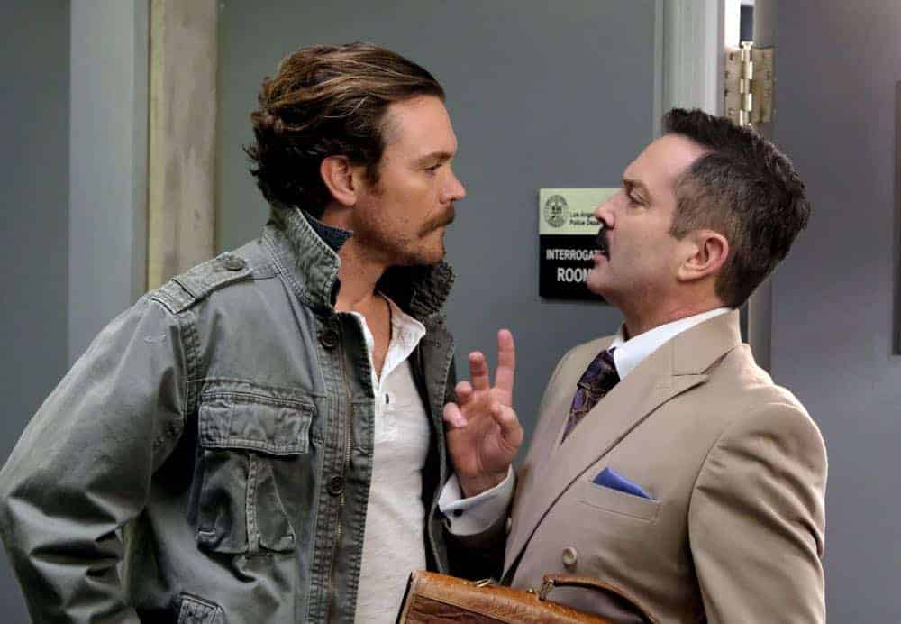 "LETHAL WEAPON: L-R: Clayne Crawford and guest star Thomas Lennon in the ""Leo Getz Hitched"" episode of LETHAL WEAPON airing Tuesday, April 17 (8:00-9:00 PM ET/PT) on FOX. ©2018 Fox Broadcasting Co. CR: Ray Mickshaw/FOX"
