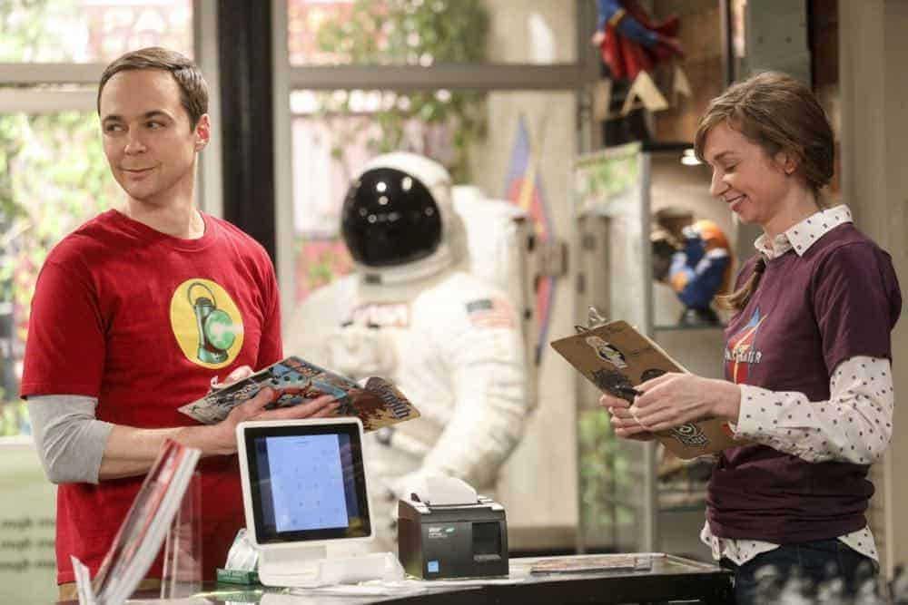 """The Comet Polarization"" - Pictured: Sheldon Cooper (Jim Parsons) and Denise (Lauren Lapkus). Sheldon's comic book store experience changes when writer Neil Gaiman puts Stuart's store on the map. Also, Koothrappali takes credit for Penny's astronomical discovery and friendships are threatened, on THE BIG BANG THEORY, Thursday, April 19 (8:00-8:31 PM, ET/PT), on the CBS Television Network. Photo: Jordin Althaus/Warner Bros. Entertainment Inc. © 2018 WBEI. All rights reserved."