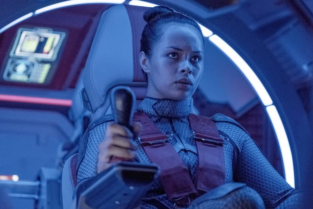 "THE EXPANSE -- ""Iff"" Episode 302 -- Pictured: Frankie Adams as Bobbie Draper -- (Photo by: Rafy/Syfy)"