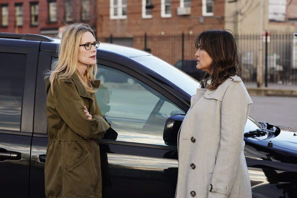 "LAW & ORDER: SPECIAL VICTIMS UNIT -- ""Sunk Cost Fallacy"" Episode 1919 -- Pictured: (l-r) Stephanie March as Alexandra Cabot, Mariska Hargitay as Lieutenant Olivia Benson -- (Photo by:Peter Kramer/NBC)"