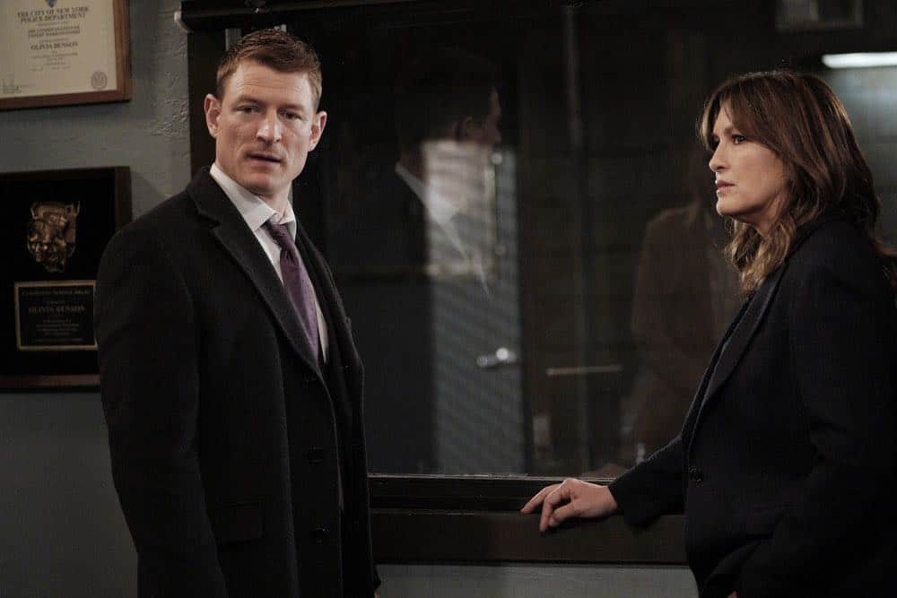 "LAW & ORDER: SPECIAL VICTIMS UNIT -- ""Sunk Cost Fallacy"" Episode 1919 -- Pictured: (l-r) Philip Winchester as Peter Stone, Mariska Hargitay as Lieutenant Olivia Benson -- (Photo by:Peter Kramer/NBC)"