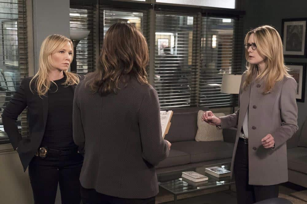 "LAW & ORDER: SPECIAL VICTIMS UNIT -- ""Sunk Cost Fallacy"" Episode 1919 -- Pictured: (l-r) Kelli Giddish as Detective Amanda Rollins, Stephanie March as Alexandra Cabot -- (Photo by:Peter Kramer/NBC)"