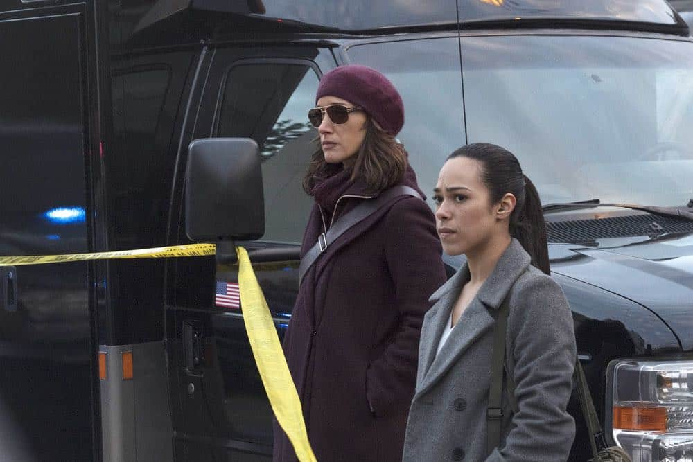 "TAKEN -- ""password"" Episode 211 -- Pictured: (l-r) Jennifer Beals as Christina Hart, Jessica Camacho as Santana -- (Photo by: Panagiotis Pantazidis/NBC)"