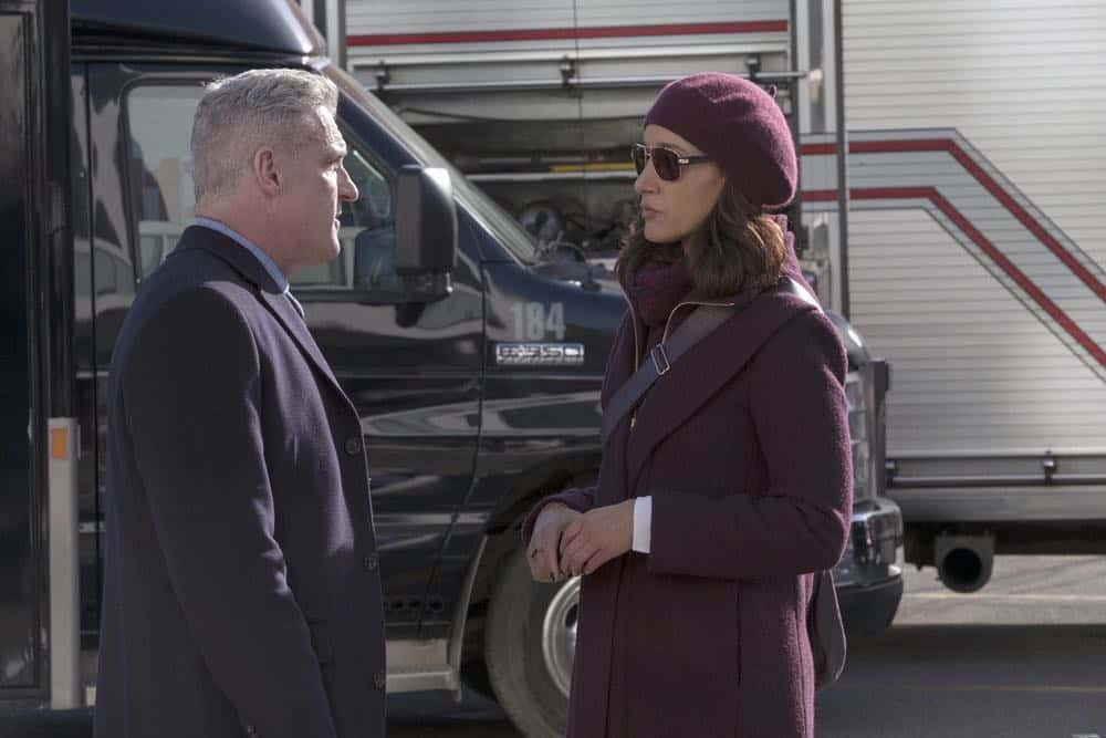 "TAKEN -- ""password"" Episode 211 -- Pictured: (l-r) James Colby as McCarron, Jennifer Beals as Christina Hart -- (Photo by: Panagiotis Pantazidis/NBC)"