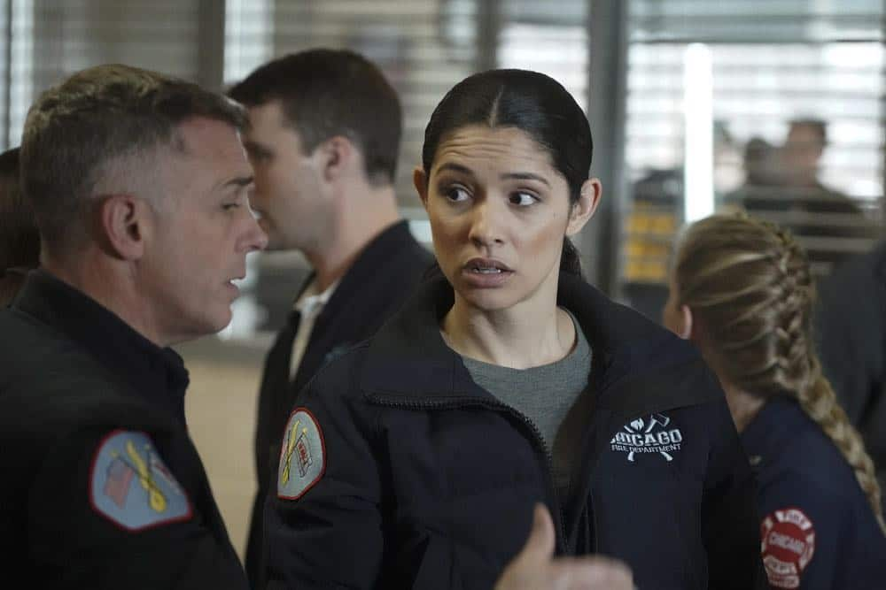 """CHICAGO FIRE -- """"When They See Us Coming"""" Episode 618 -- Pictured: (l-r) David Eigenberg as Christopher Herrmann, Miranda Rae Mayo Stella Kidd -- (Photo by: Elizabeth Morris/NBC)"""