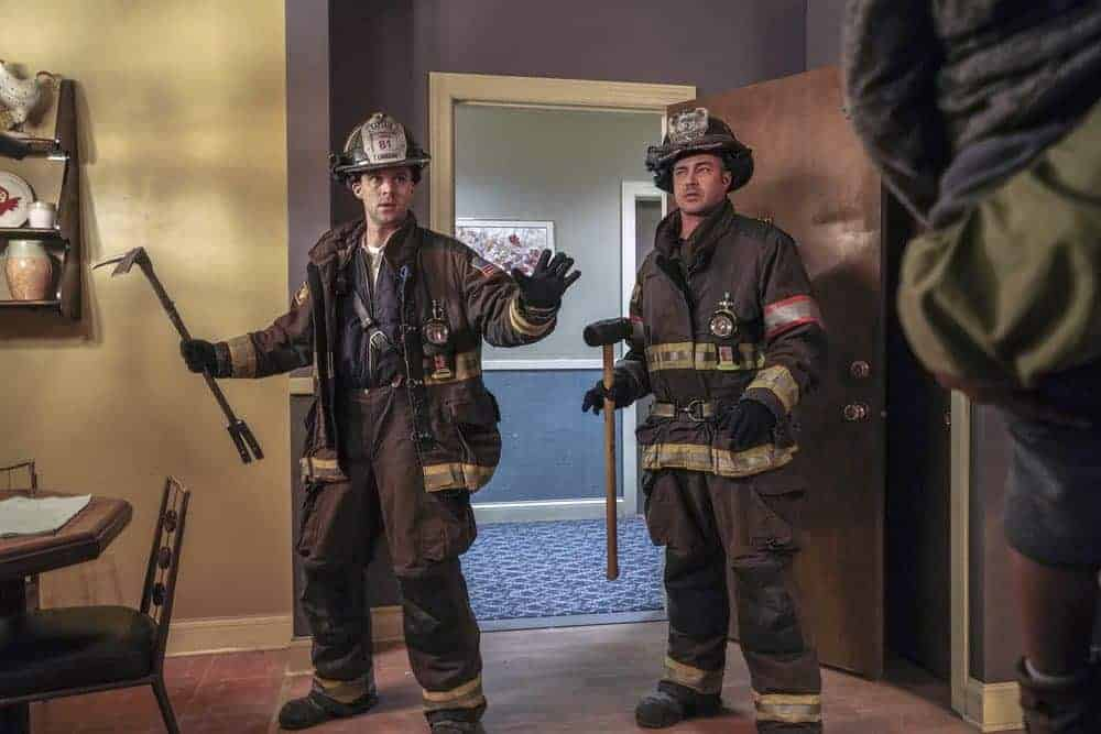 """CHICAGO FIRE -- """"When They See Us Coming"""" Episode 618 -- Pictured: (l-r) Jesse Spencer as Matthew Casey, Taylor Kinney as Kelly Severide -- (Photo by: Elizabeth Morris/NBC)"""