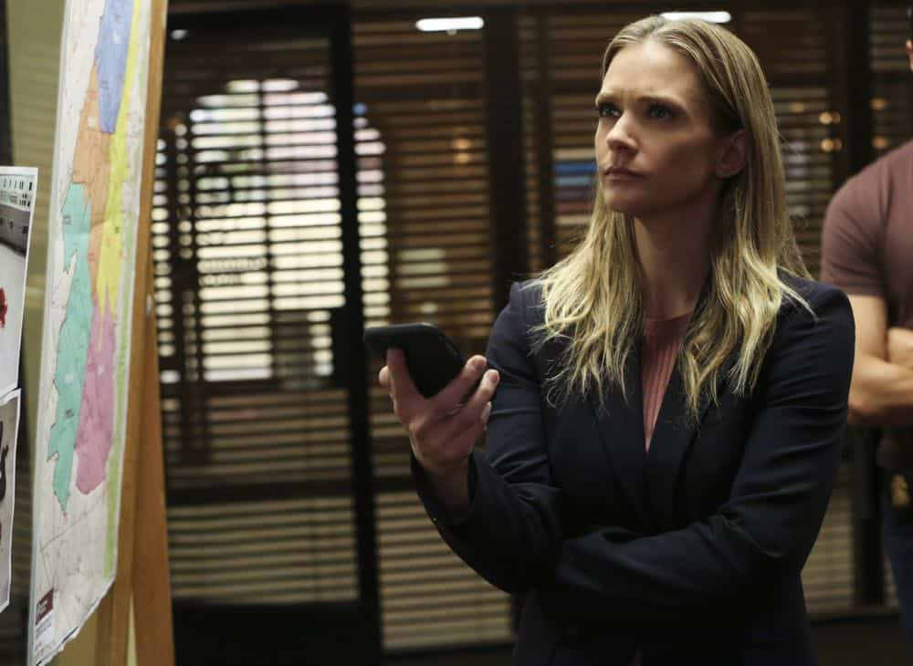 """Mixed Signals"" -- The BAU is called to Taos, N.M. to investigate an UnSub who is targeting his victims' temporal lobes, on the first episode of the double-episode 13th season finale of CRIMINAL MINDS, Wednesday, April 18 (9:00-10:00 PM, ET/PT) on the CBS Television Network.  Pictured: A.J. Cook (Jennifer Jareau)   Photo: Michael Yarish/CBS ©2018 CBS Broadcasting, Inc. All Rights Reserved"