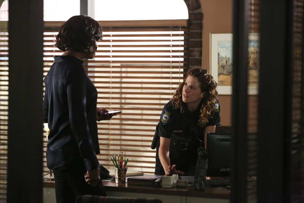 """Mixed Signals"" -- The BAU is called to Taos, N.M. to investigate an UnSub who is targeting his victims' temporal lobes, on the first episode of the double-episode 13th season finale of CRIMINAL MINDS, Wednesday, April 18 (9:00-10:00 PM, ET/PT) on the CBS Television Network.  Pictured: Alexis Carra (Chief Karen Carlsen)   Photo: Michael Yarish/CBS ©2018 CBS Broadcasting, Inc. All Rights Reserved"