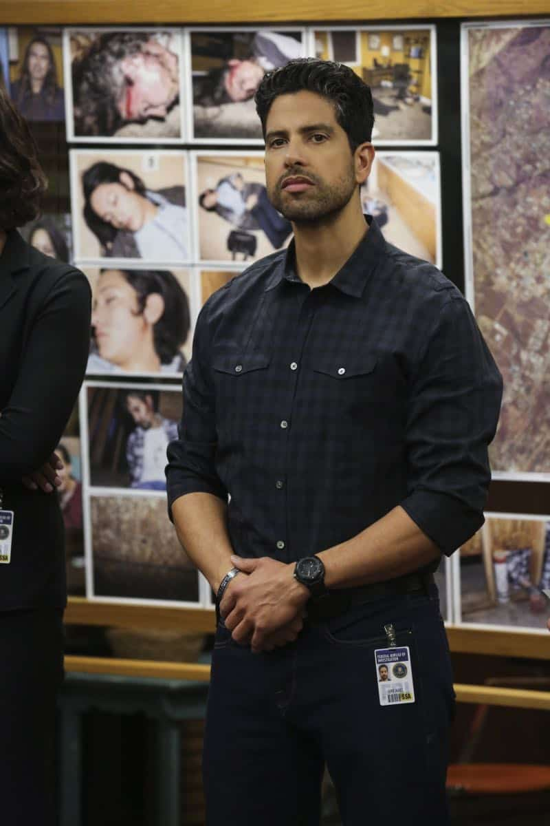"""Mixed Signals"" -- The BAU is called to Taos, N.M. to investigate an UnSub who is targeting his victims' temporal lobes, on the first episode of the double-episode 13th season finale of CRIMINAL MINDS, Wednesday, April 18 (9:00-10:00 PM, ET/PT) on the CBS Television Network.  Pictured: Adam Rodriguez (Luke Alvez)   Photo: Michael Yarish/CBS ©2018 CBS Broadcasting, Inc. All Rights Reserved"