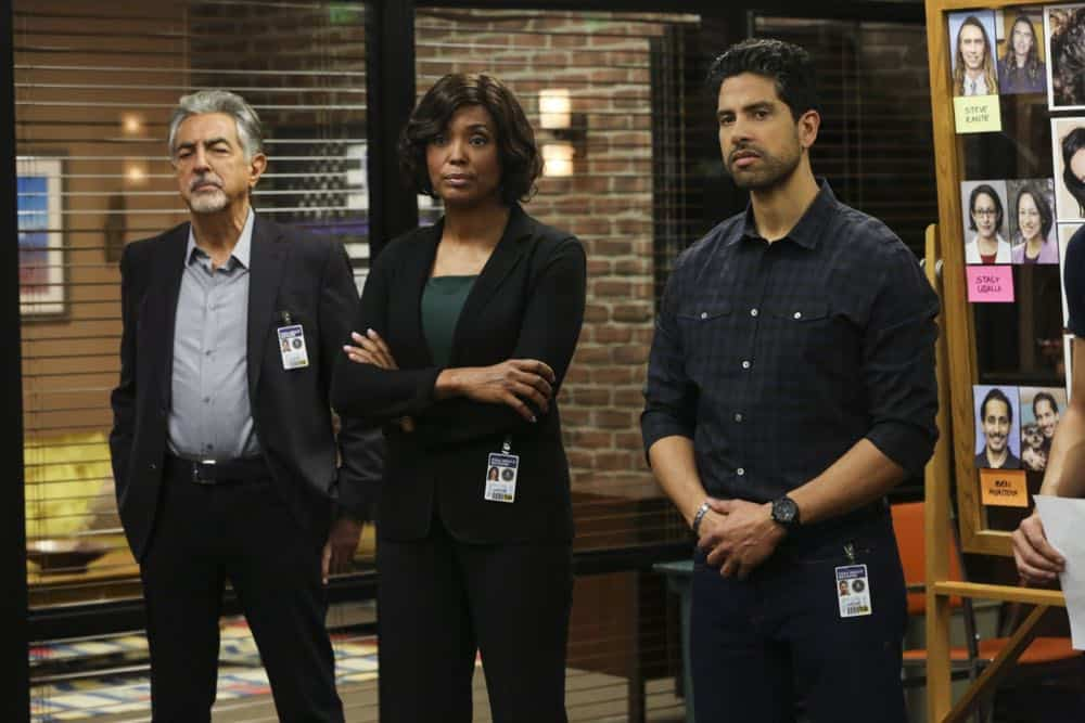 """Mixed Signals"" -- The BAU is called to Taos, N.M. to investigate an UnSub who is targeting his victims' temporal lobes, on the first episode of the double-episode 13th season finale of CRIMINAL MINDS, Wednesday, April 18 (9:00-10:00 PM, ET/PT) on the CBS Television Network.  Pictured: Joe Mantegna (David Rossi), Aisha Tyler (Dr. Tara Lewis), Adam Rodriguez (Luke Alvez)   Photo: Michael Yarish/CBS ©2018 CBS Broadcasting, Inc. All Rights Reserved"