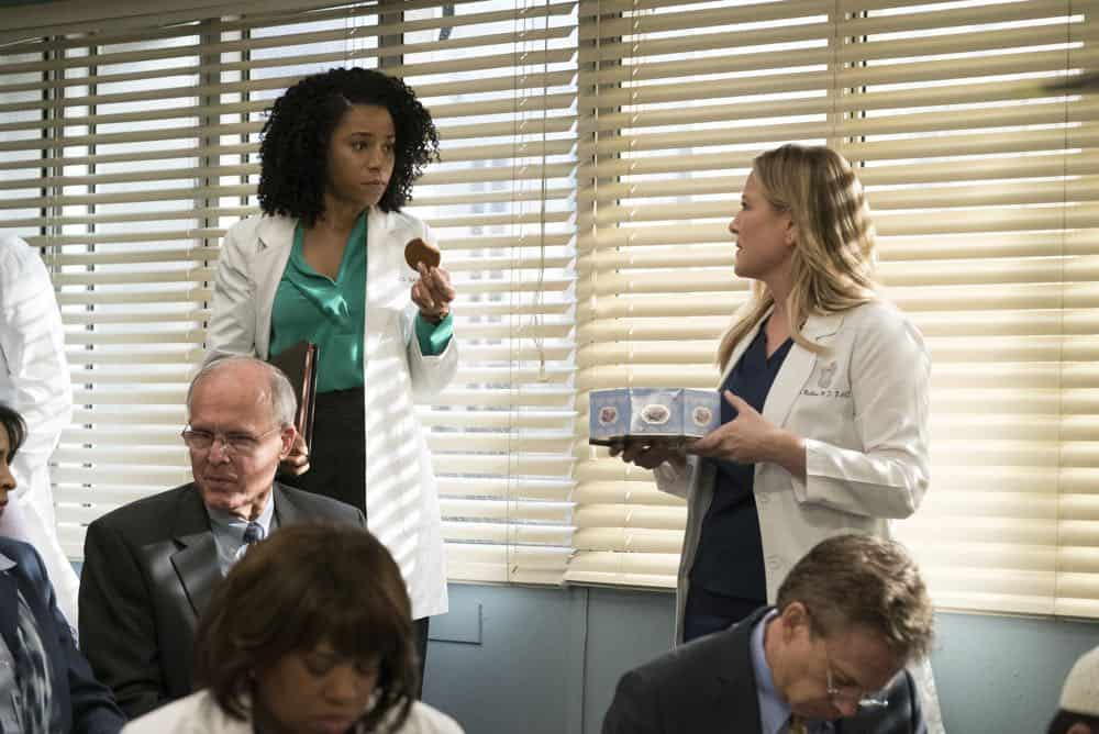 """GREY'S ANATOMY - """"Judgment Day"""" - During presentations on Grey Sloan Surgical Innovation Prototypes Day, Arizona shares some cookies from an appreciative patient that, unbeknownst to her, contain a special ingredient. Meanwhile, Catherine reveals some shocking details to Jackson about his grandfather's past; and Jo steps in mid-operation on a major surgery after Bailey and Meredith are down for the count, on """"Grey's Anatomy,"""" THURSDAY, APRIL 19 (8:00-9:00 p.m. EDT), on The ABC Television Network. (ABC/Byron Cohen) KELLY MCCREARY, JESSICA CAPSHAW"""