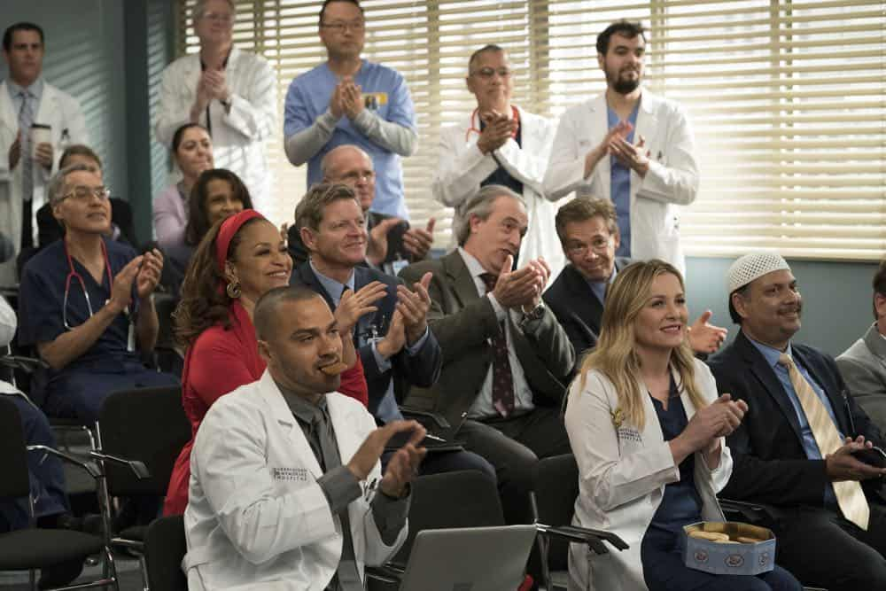 """GREY'S ANATOMY - """"Judgment Day"""" - During presentations on Grey Sloan Surgical Innovation Prototypes Day, Arizona shares some cookies from an appreciative patient that, unbeknownst to her, contain a special ingredient. Meanwhile, Catherine reveals some shocking details to Jackson about his grandfather's past; and Jo steps in mid-operation on a major surgery after Bailey and Meredith are down for the count, on """"Grey's Anatomy,"""" THURSDAY, APRIL 19 (8:00-9:00 p.m. EDT), on The ABC Television Network. (ABC/Byron Cohen) DEBBIE ALLEN, JESSE WILLIAMS, JESSICA CAPSHAW"""