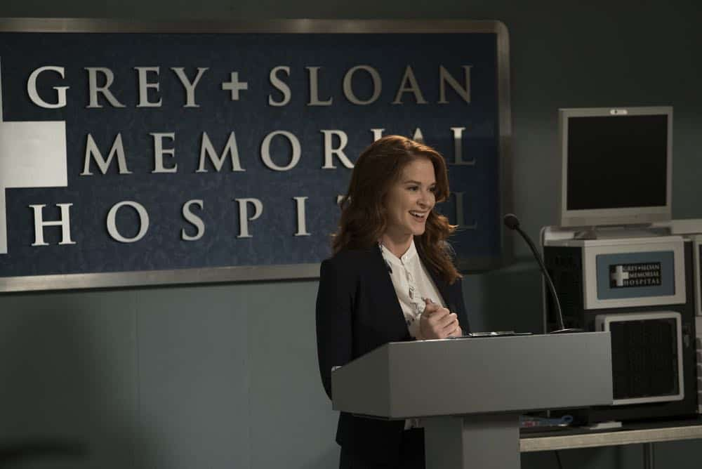 """GREY'S ANATOMY - """"Judgment Day"""" - During presentations on Grey Sloan Surgical Innovation Prototypes Day, Arizona shares some cookies from an appreciative patient that, unbeknownst to her, contain a special ingredient. Meanwhile, Catherine reveals some shocking details to Jackson about his grandfather's past; and Jo steps in mid-operation on a major surgery after Bailey and Meredith are down for the count, on """"Grey's Anatomy,"""" THURSDAY, APRIL 19 (8:00-9:00 p.m. EDT), on The ABC Television Network. (ABC/Byron Cohen) SARAH DREW"""