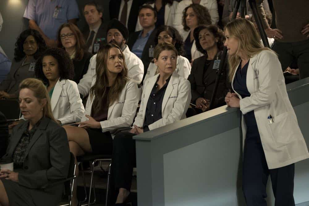 """GREY'S ANATOMY - """"Judgment Day"""" - During presentations on Grey Sloan Surgical Innovation Prototypes Day, Arizona shares some cookies from an appreciative patient that, unbeknownst to her, contain a special ingredient. Meanwhile, Catherine reveals some shocking details to Jackson about his grandfather's past; and Jo steps in mid-operation on a major surgery after Bailey and Meredith are down for the count, on """"Grey's Anatomy,"""" THURSDAY, APRIL 19 (8:00-9:00 p.m. EDT), on The ABC Television Network. (ABC/Byron Cohen) KELLY MCCREARY, CAMILLA LUDDINGTON, ELLEN POMPEO, JESSICA CAPSHAW"""
