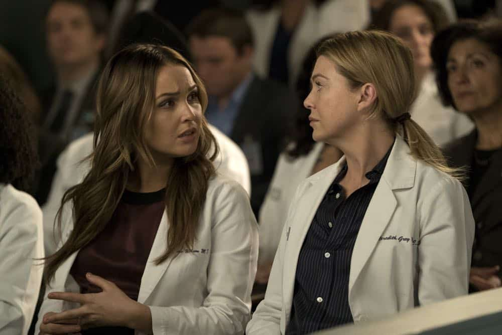 """GREY'S ANATOMY - """"Judgment Day"""" - During presentations on Grey Sloan Surgical Innovation Prototypes Day, Arizona shares some cookies from an appreciative patient that, unbeknownst to her, contain a special ingredient. Meanwhile, Catherine reveals some shocking details to Jackson about his grandfather's past; and Jo steps in mid-operation on a major surgery after Bailey and Meredith are down for the count, on """"Grey's Anatomy,"""" THURSDAY, APRIL 19 (8:00-9:00 p.m. EDT), on The ABC Television Network. (ABC/Byron Cohen) CAMILLA LUDDINGTON, ELLEN POMPEO"""