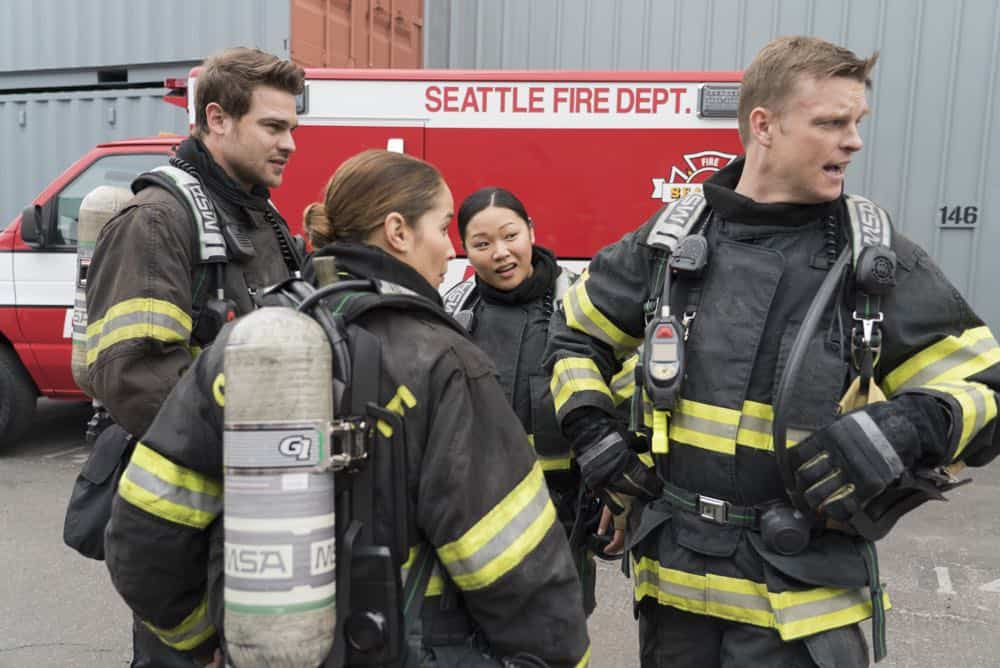 "STATION 19 - ""Stronger Together"" - Andy, Jack and 18 other candidates take the captaincy drill test, gunning for one spot as captain of Station 19. Meanwhile, Travis is serving as acting captain while Andy and Jack are away for the day; and Ben confronts Vic about her fears, on ""Station 19,"" THURSDAY, APRIL 19 (9:00-10:00 p.m. EDT), on The ABC Television Network. (ABC/Eric McCandless) GREY DAMON, JAINA LEE ORTIZ, JEE YOUNG HAN, BRAD BEYER"